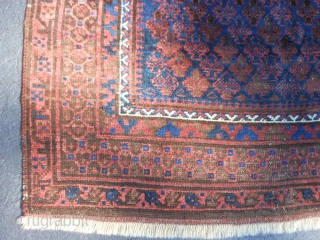 Persian Timuri Baluch, late 19th century, 3-4 x 4-11 (1.02 x 1.50), shrub design, rug was hand washed, browns oxidized, floppy handle, wear, half of original kilims, super blue, original edges (need  ...