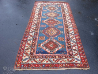 Caucasian Kazak, circa 1900, 4-4 x 8-8 (1.32 x 2.64), good condition, rug was washed, original ends and edges, one end original braiding, synthetic and natural dyes, browns oxidized, good pile, wear,  ...