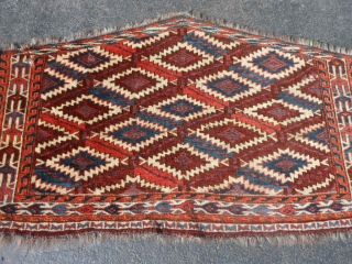Turkman Yomud Asmalyk, Mid 19th century, 2-1 x 3-8 (.64 x 1.12), good full pile, fine weave, rug was hand washed, floppy handle, soft luxurious wool, great colors, Green Silk highlights in  ...