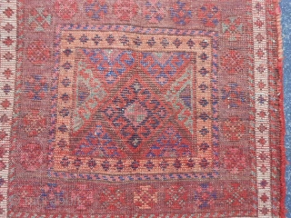 Persian Jaf Kurd Bag Face, late 19th century, 1-10 x 1-10 (.56 x .56), good pile, good condition, rug was hand washed, nice purple border, plus shipping.