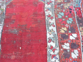 Turkish Konya Prayer Rug, Mid 19th century, 3-3 x 4-7 (.99 x 1.40), wear, oxidation, missing bottom guard border, missing half of top guard border, old repairs, rug was hand washed, plus  ...