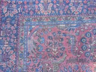 "Persian Sarouk, 4-3 x 6-2 (1.29 x 1.88), circa 1920, good pile, good condition, fine weave, ""painted"", minor ends loss, I washed this rug, white knots in pile,