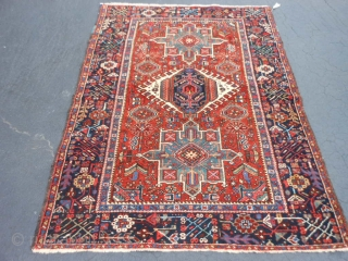 Persian Karaja, early 20th century, 4-8 x 6-3 (1.42 x 1.90), very good condition, good pile, original edges, ends overcast, rug is clean, nice colors, plus shipping.