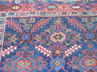 Persian Heriz, circa 1900, 4-7 x 6-10 (1.40 x 2.08), rug was washed, browns oxidized, end loss both ends, side binding problems, worn, beautiful colors, plus shipping.