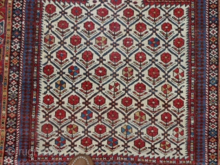 Caucasian Daghestan Prayer rug, late 19th century, 3-11 x 4-8 (1.19 x 1.42), original ends with knotted fringe, original edges, good condition, 2 small creases, browns oxidized, I washed this rug, two  ...