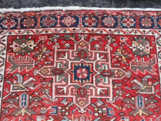 Persian Karaja, early 20th century, 3-9 x 4-4 (1.14 x 1.32), very good condition, full pile, clean, original ends and edges, great size, plus shipping.