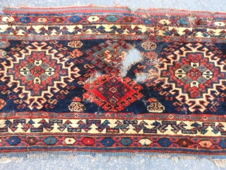 Persian Veramin, late 19th century, 1-4 x 3-7 (.41 x 1.09). lots of moth damage, hand washed, no moths, no rot, damage only where moths were (holes), strong rug base and pile,  ...