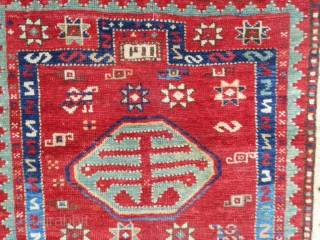 Caucasian Kazak Prayer Rug, 3-1 x 4-4, good even pile, some slight wear, good colors, late 19th century,original edges, bottom missing barber pole guard border,rug is dated, ends have been overcast, I  ...