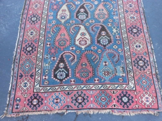 Caucasian Shirvan, circa 1900, 3-8 x 5-8 (1.12 x 1.73), wear, holes, end loss, rug has been washed, plus shipping.