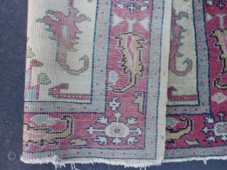 Turkish Oushak, circa 1920, 3-7 x 6-3 (1.09 x 1.90), wear, end loss, rug has been washed, plus shipping.