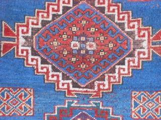Caucasian Kazak, circa 1900, 4-4 x 8-8 (1.32 x 2.64), rug was washed, browns oxidized, original ends and edges, one end original braided finish, few moth bites, good pile, good condition, synthetic  ...