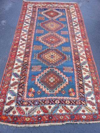 Caucasian Kazak, circa 1900, 4-4 x 8-8 (1.32 x 2.64), browns oxidized, synthetic and natural dyes, rug was washed, original ends and edges, one end original braided finish, good pile, good condition,  ...