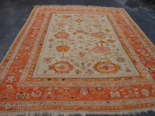 Turkish Oushak, late 19th century, 9-1 x 10-11 (2.77 x 3.33), good condition, original ends and edges, great colors, rug is clean, good pile, some wear, wool foundation, some old small repairs,  ...