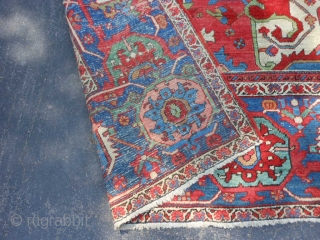 Persian Serapi Heriz, late 19th century, 11-10 x 17-11 (3.61 x 5.46), good condition, 13 inch wide main border, original edges, original ends (have been overcast), no dyes or touch up, good  ...