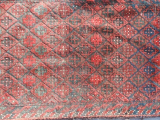 Persian Baluch Balisht bag, late 19th century, 1-6 x 2-9 (.46 x .84), good condition, 3 shades of red, blacks and browns oxidized, cruciforms, rug was washed, plus shipping.