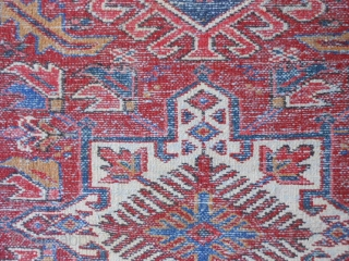 Persian Karaja, circa 1930-40, 3-4 x 4-7 (1.02 x 1.40), end loss both ends, full pile,rug has been washed, plus shipping.