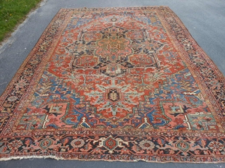 Persian Heriz, circa 1920, 8-8 x 12-4 (2.64 x 3.76), needs wash, original edges almost complete, some end loss one end, good condition with 3 small areas of wear (see second and  ...