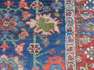 Persian Kurd Bidjar, circa 1870-80, 3-9 x 6-4 (1.14 x 1.93), wool foundation, rug has been soaked and hand washed, wear, missing guard borders both ends, both ends have been overcast, great  ...