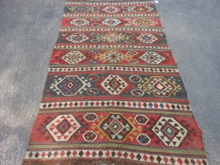 Caucasian Shirvan Kilim, 4-10 x 8-11 (1.47 x 2.72), late 19th century, original ends, good colors, slit tapestry weave, browns oxidized a lot, edges need work,