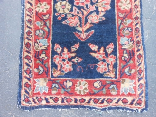 Persian Mohajeran Sarouk, early 20th century, 1-4 x 1-11 (.41 x .58), good pile, original edges and ends, ends overcast, rug was washed, fine weave, one end starting to pull apart (second  ...