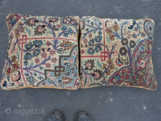 2 Persian Meshed Pillows, early 20th century, 1-6 x 1-6 each (.46 x .46 each), very good condition, clean, plus shipping.