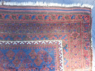 Persian Timuri Baluch, late 19th century, 3-4 x 4-11 (1.02 x 1.50), Shrub design, rug was hand washed, browns oxidized, floppy handle, about half of original kilim ends, even wear, original edges  ...