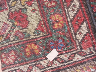 Persian Kurdish Kelleh, 5-1 x 10-6 (1.55 x 3.20), circa 1900, Boteh's, even wear, wool warp and weft, original selvage both ends, 2 corners dog eared, I washed this rug, great purple  ...
