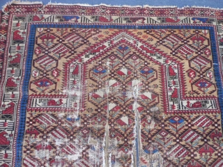 Caucasian Marasali Shirvan Prayer, late 19th century, 4-1 x 4-9 (1.24 x 1.45), end loss, holes, worn, not hard, no rot, rug was washed, plus shipping.