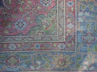 Silk, early 20th century, 4-0 x 5-10 (1.22 x 1.47), cotton warps, ends and edges original, fine weave, worn, rug is clean, plus shipping.