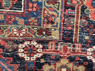 Persian Heriz, early 20th century, 11-8 x 20-8 (356 x 630), very good condition, full pile, original side bindings, original ends, rug was professionally washed, good crisp colors, high definition pics available,  ...