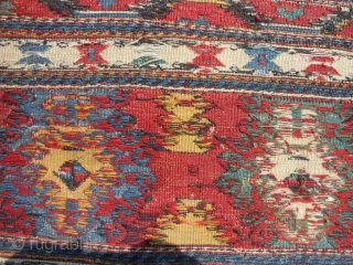 Shah Savan Soumac Mafrash end panel, late 19th century, 1-6 x 1-9 (.46 x .53), good condition, weft wrapping technique, plus shipping.
