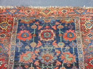 Persian Kurd Bidjar, late 19th century, 3-9 x 6-4 (1.14 x 1.93), thick and heavy, rug has been hand washed, wear, missing guard borders both ends, Mina Khani design, great colors, plus  ...
