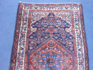 Persian Kurdish Hamadan, early 20th century, 3-8 x 6-2 (1.12 x 1.88), very good condition, full pile, rug was hand washed, original braided selvage one end, other end original and overcast, original  ...