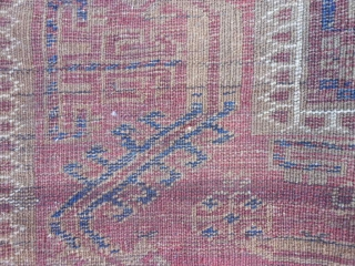 Persian Baluch, late 19th century, 2-10 x 5-2 (.86 x .57), has part of kilim ends, worn, holes, old repairs, great purple, rug was washed, plus shipping.