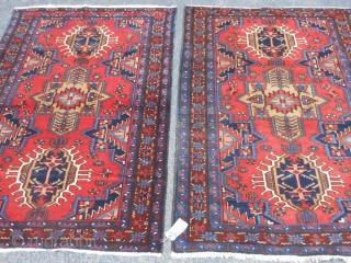 Persian Karaja's Pair, 3-6 x 5, 3-5 x 4-11 (1.07 x 1.52, 1.04 x 1.50), circa 1910, very good condition, good pile, no repairs, original edges, original ends with fringe, fine weave,  ...