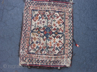 Persian Bakhtiar Soumac bag, late 19th century, 1-0 x 1-4 (.31 x .41), weft wrapping both sides, slight wear, white is cotton, rug is clean, good colors, plus shipping.