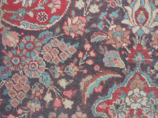 """Persian Tabriz, early 20th century, 7-6 x 11-0 (2.29 x 3.35), rug has been washed, no hard spots or rot or smells, minor end loss one end, wear, 2"""" hole, red dye  ..."""