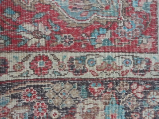 "Persian Tabriz, early 20th century, 7-6 x 11-0 (2.29 x 3.35), rug has been washed, no hard spots or rot or smells, minor end loss one end, wear, 2"" hole, red dye  ..."