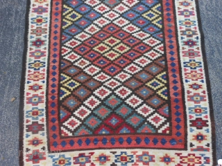 Persian Saveh Kilim, early 20th century, 3-3 x 13-4 (.99 x 4.06), very good condition, reversible, rug is clean, closed dovetail tapestry weave, strong and tight, good dyes, plus shipping.