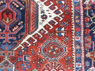 Persian Karaja, early 20th century, 4-8 x 6-3 (1.42 x 1.90), very good condition, good pile, rug is clean, original ends and edges, ends overcast, plus shipping.
