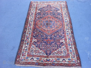 Persian Kurdish Hamadan, early 20th century, 3-8 x 6-2 (1.12 x 1.88), very good condition, full pile, rug was hand washed, original edges, original end is overcast, other end original braided selvage,  ...