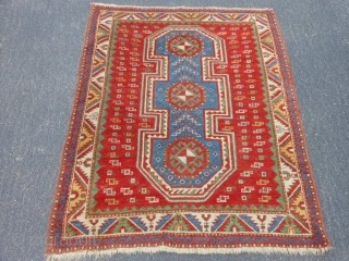 Caucasian Fachralo Kazak, late 19th century, 3-9 x 4-7 (1.14 x 1.40), good condition, good pile, some wear, rug was hand washed, good wool. great handle, saturated colors, original ends and edges,  ...