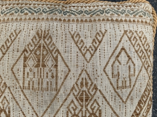 Indonesian boat cloth pillow, early 20th century, 1-1 x 1-2 (33 x 36),  good condition, plus shipping.