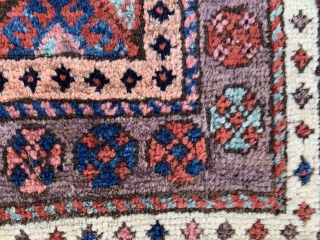 Persian Jaf Kurd bag face,  late 19th century,  1-10 x 1-11 (56 x 58),  good pile,  rug was hand washed,  browns oxidized,  purple border,  plus  ...