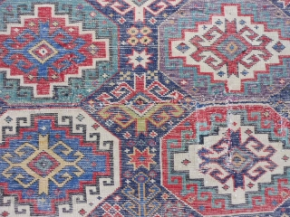 Caucasian Kuba/Shirvan, late 19th century, 3-11 x 6-2 (1.19 x 1.88), Moghan design, rug was hand washed, original ends, saturated colors, super green and purple, good pile, missing outer minor guard border  ...