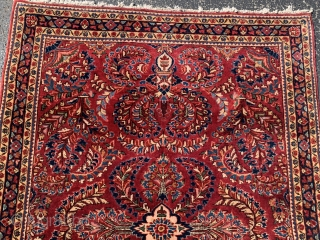 Persian Sarouk, early 20th century,  3-5 x 4-10 (104 x 147),  very good condition,  full pile,  rug was hand washed, original fringe,  plus shipping.