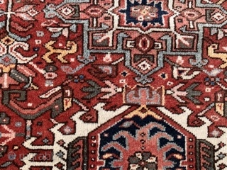 Persian Karaja,  early 20th century,  3-9 x 4-4 (114 x 132),  very good condition,  full pile,  rug was washed,  plus shipping.