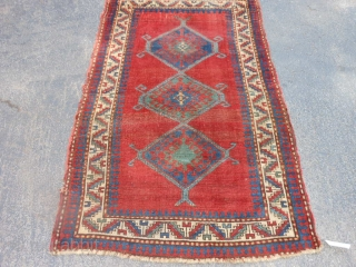 Caucasian Kazak,  3-5 x 5-7 (1.04 x 1.70),  late 19th century,  even wear,  missing part of candy cane border on both ends,  both ends overcast, this rug  ...