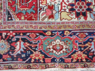 Persian Heriz, circa 1920, 9-9 x 12-7 (2.97 x 3.84), very good condition, original edges and ends, ends have been overcast, rug is clean, great size - small 10 x 13, good  ...