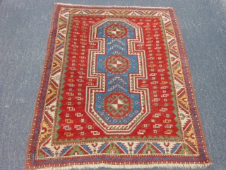 Caucasian Fachralo Kazak, late 19th century, 3-9 x 4-7 (1.14 x 1.40), good condition, rug was hand washed, original ends and edges, slight wear not threadbare, browns oxidized, ends overcast, good floppy  ...
